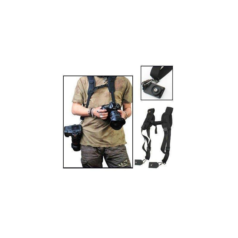 Двойной плечевой ремень для двух цифровых камер, фотоаппаратов и биноклей (черный)