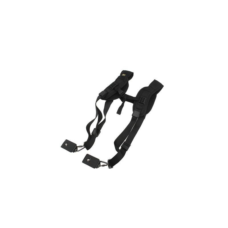 Двойной плечевой ремень для двух цифровых камер, фотоаппаратов и биноклей (черный) 186504