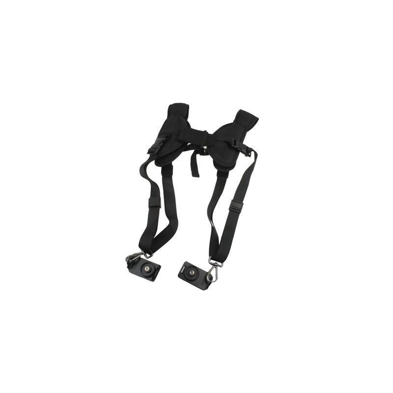 Двойной плечевой ремень для двух цифровых камер, фотоаппаратов и биноклей (черный) 186505