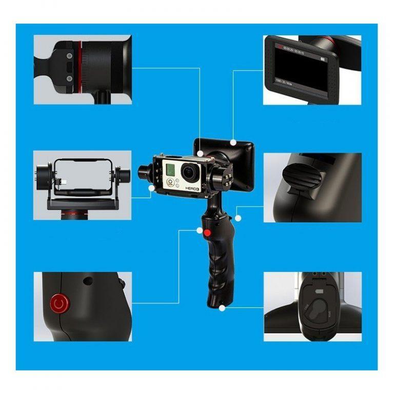 437 - Стабилизатор-стедикам Wenpod GP1 с экраном 3,5 дюйма для камеры GoPro Hero 3, 3+, 4