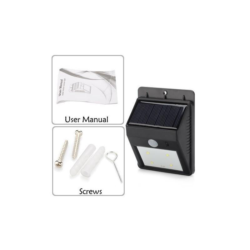 Светодиодный уличный фонарь с поликристаллической солнечной панелью и аккумулятором (ИК-датчик, ночной датчик, 80 люмен, IP64) 186695
