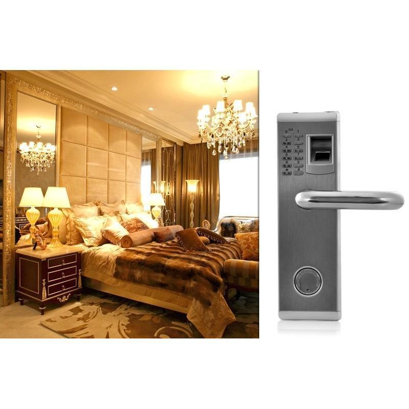Сверхмощный дверной биометрический замок, открывающийся по отпечатку пальца, ключом или при помощи кода 187056