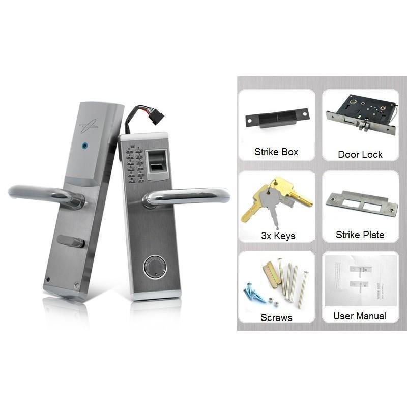 Сверхмощный дверной биометрический замок, открывающийся по отпечатку пальца, ключом или при помощи кода 187058