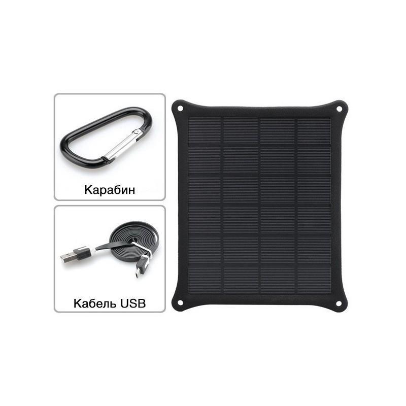 Портативное зарядное устройство – монокристаллическая солнечная панель SolarCrystal-S95 5W погодостойкая IP55, USB 187070