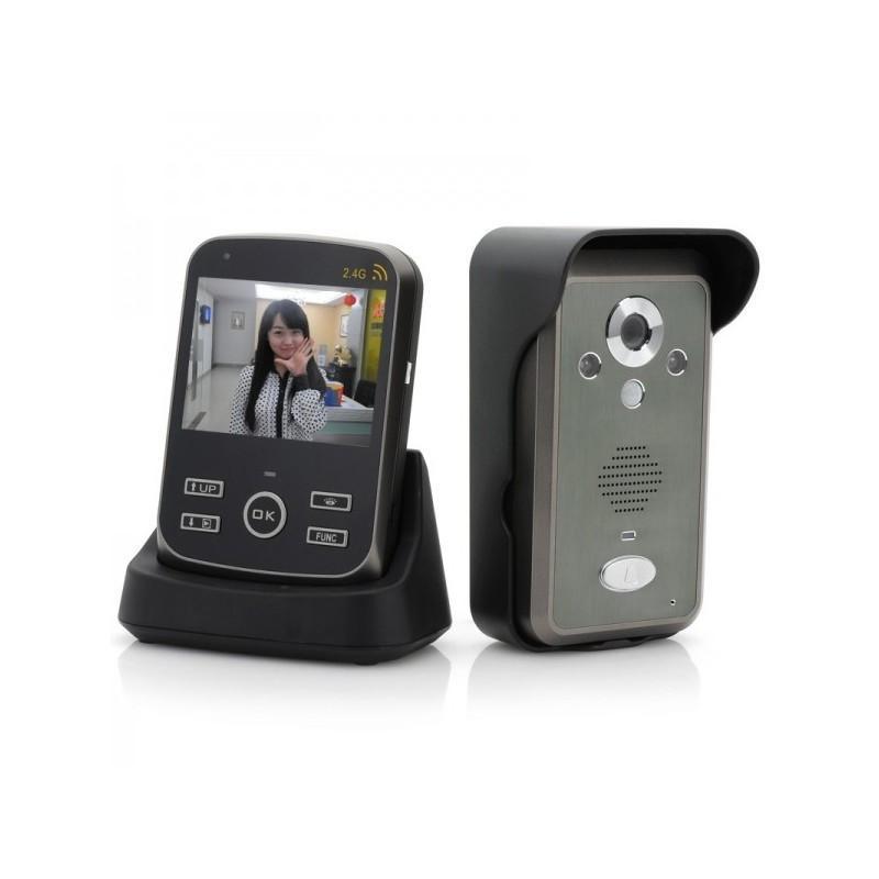 Беспроводной видеодомофон с детектором движения и ночным видением, монитор 3,5″,  камера 0.3 Мп с дверным звонком 187256