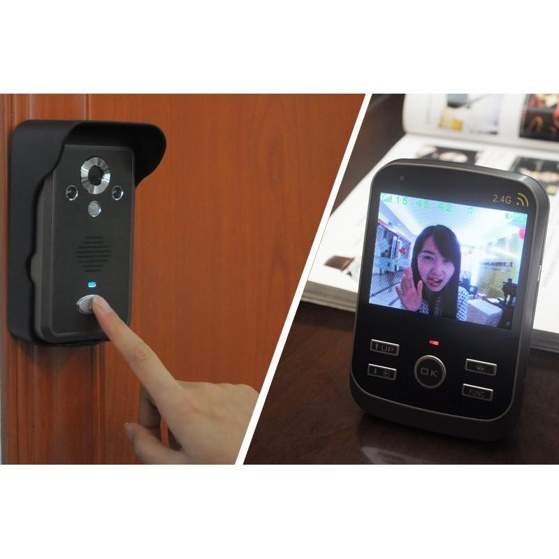 Беспроводной видеодомофон с детектором движения и ночным видением, монитор 3,5″,  камера 0.3 Мп с дверным звонком 187260