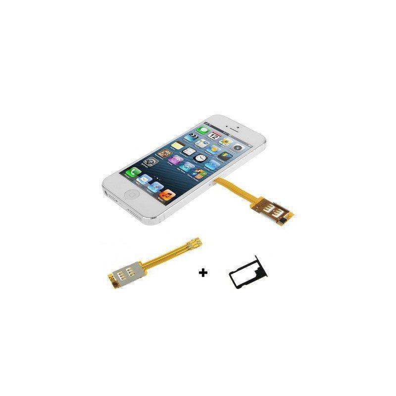 Aдаптер с лотком-держателем для 2-х сим-карт в iPhone 5, iPhone 5S, iPhone 5C, iPhone 6 и iPhone6 Plus(Black)
