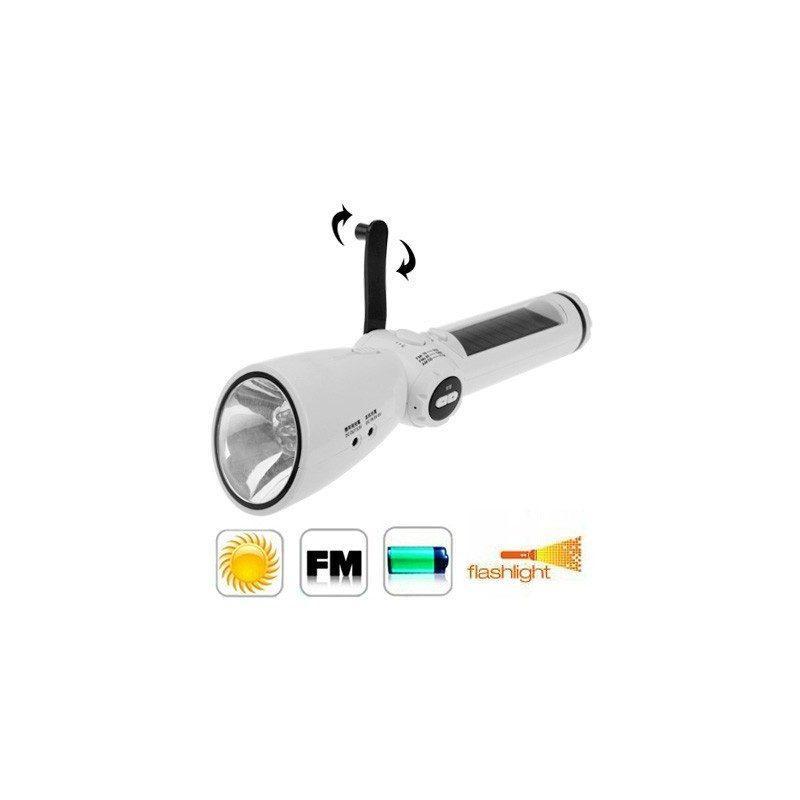 Lux-0202 – светодиодный фонарь (7 LED) + power bank: динамо-машина, солнечная панель, адаптеры для разных устройств