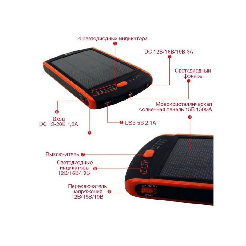 Универсальная солнечная зарядка/внешний аккумулятор 23 000 мАч SolarJet S32 ECO, 5-19В  (поддерживает ноутбуки и планшеты) 187730