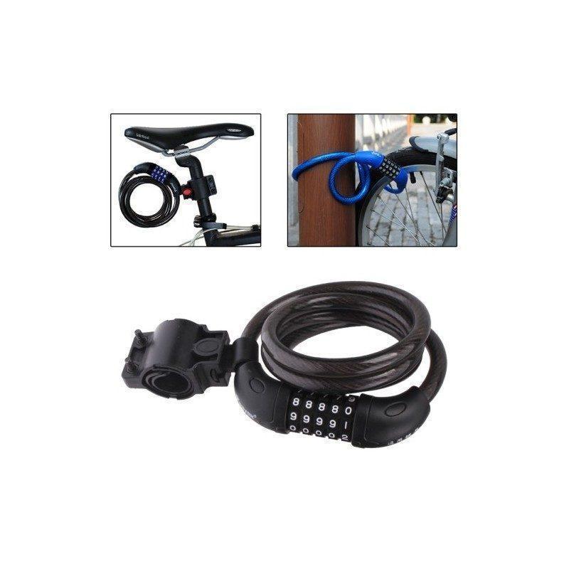Велосипедный замок OG-0453 – стальной шнур, код 5 цифр