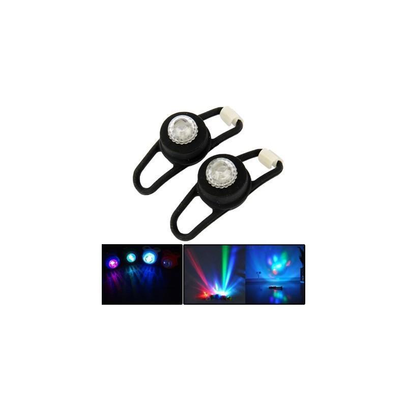 Светодиодные цветные фонари OG-0092B (черные) – 2 штуки, 2 режима света, задний велосипедный фонарь