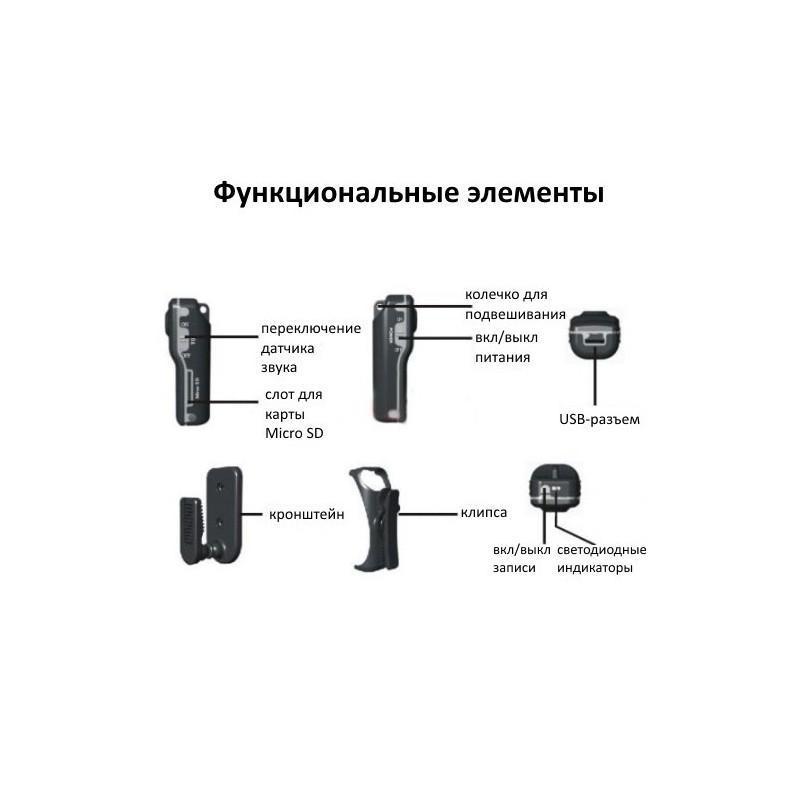 Мини-камера MD80, датчик звука, 720p, до 250 часов работы, Micro SD 183698