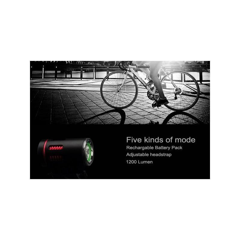 Фонарь с двумя светодиодами Cree XM-L U2 – 1200 люмен, налобный ремень, крепление для руля велосипеда, аккумулятор 4400 мАч