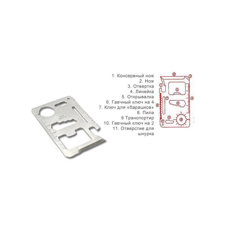 Карманный мультитул-карточка из нержавеющей стали (нож+отвертка+открывалка+линейка etc) 188357