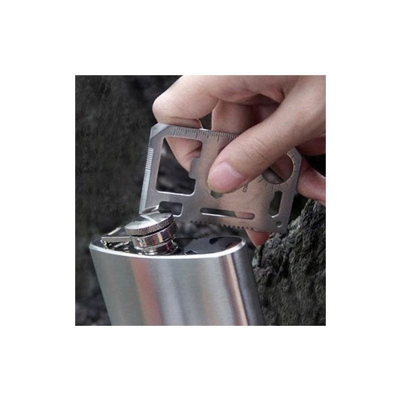 Карманный мультитул-карточка из нержавеющей стали (нож+отвертка+открывалка+линейка etc) 188358