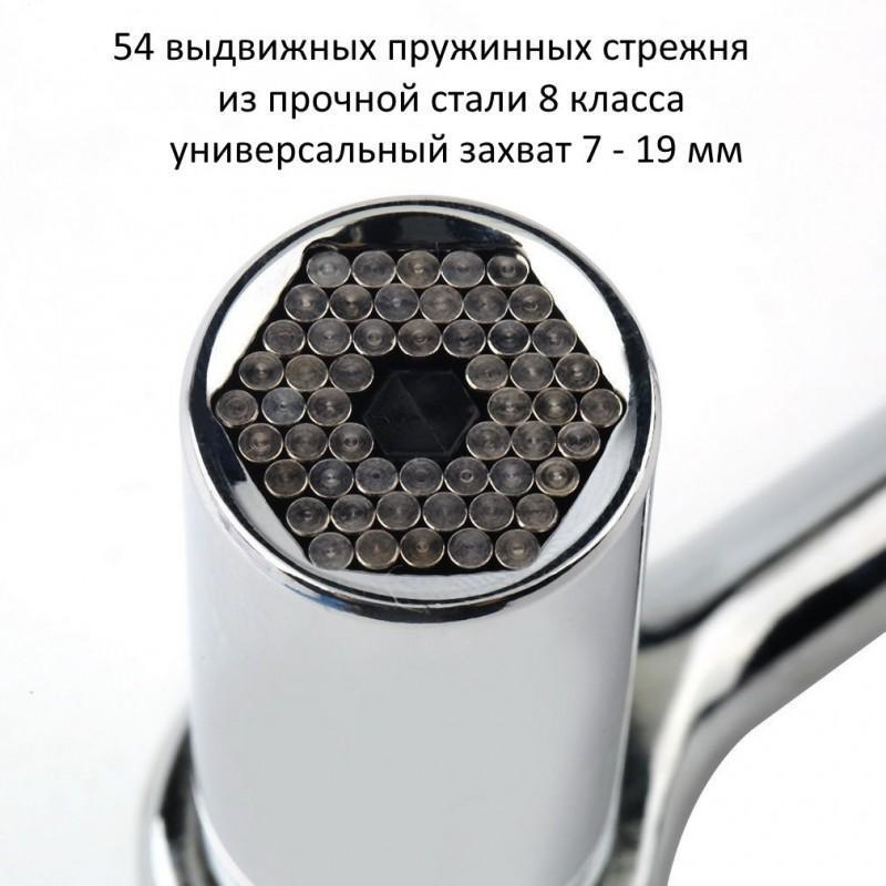 Суперключ Distordo – ключ-трещетка + насадка + переходник для дрели, захват 7-19 мм 188386