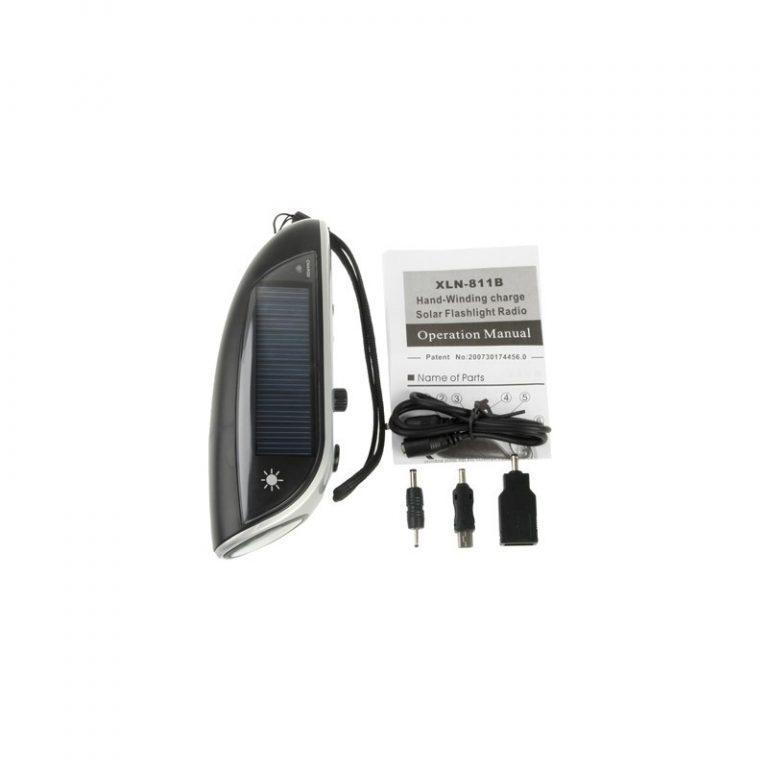 6404 - Светодиодный фонарь (4 LED) + power bank: динамо-машина, солнечная панель, адаптеры для разных устройств