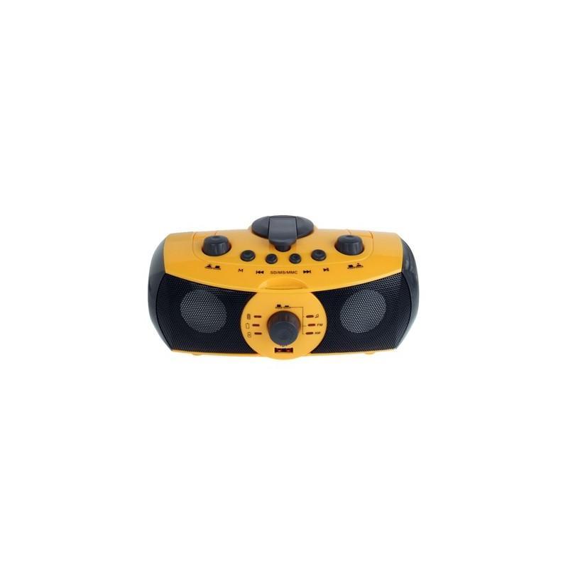 Портативный плеер S-34 с динамиком + радио + фонарь + power bank (USB-порт, поддержка SD-карт, динамо машина) 188387