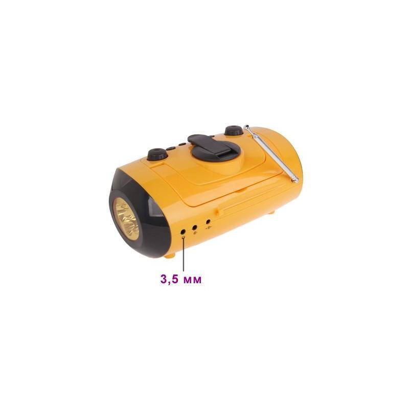 Портативный плеер S-34 с динамиком + радио + фонарь + power bank (USB-порт, поддержка SD-карт, динамо машина) 188389