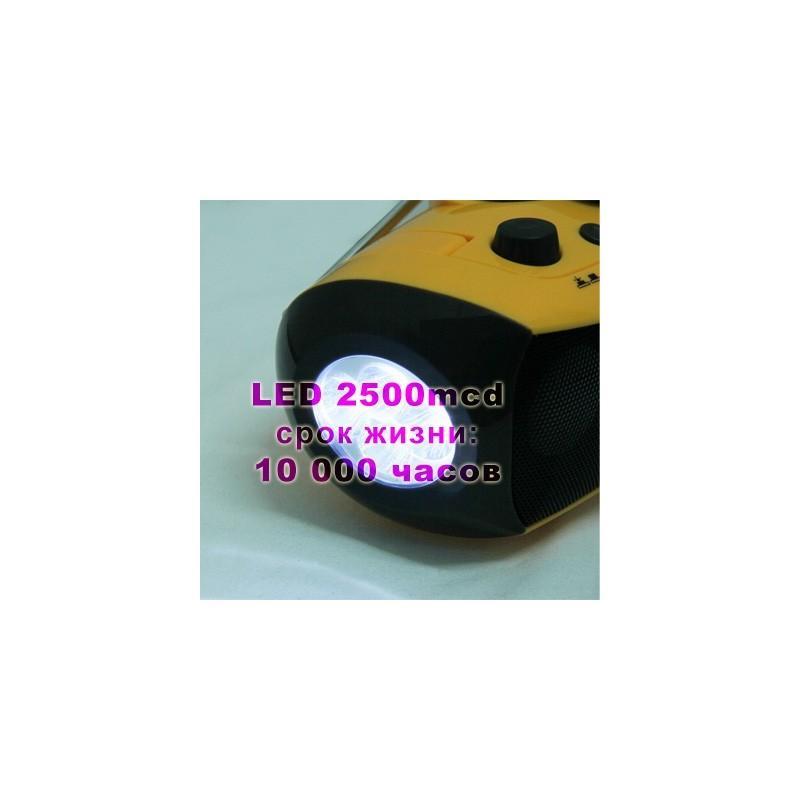 Портативный плеер S-34 с динамиком + радио + фонарь + power bank (USB-порт, поддержка SD-карт, динамо машина) 188391