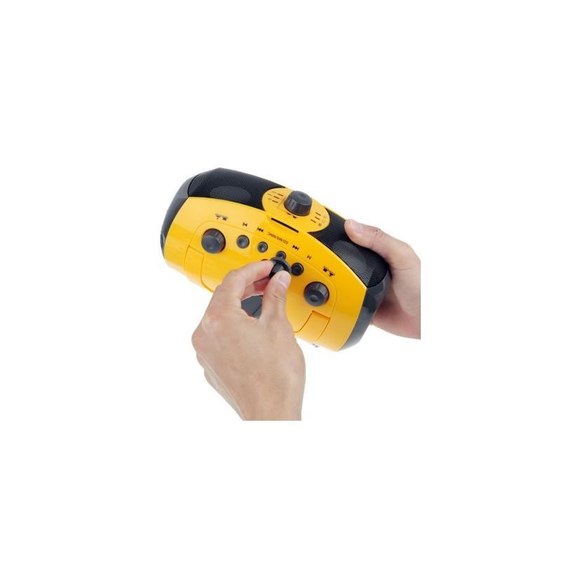 Портативный плеер S-34 с динамиком + радио + фонарь + power bank (USB-порт, поддержка SD-карт, динамо машина) 188392