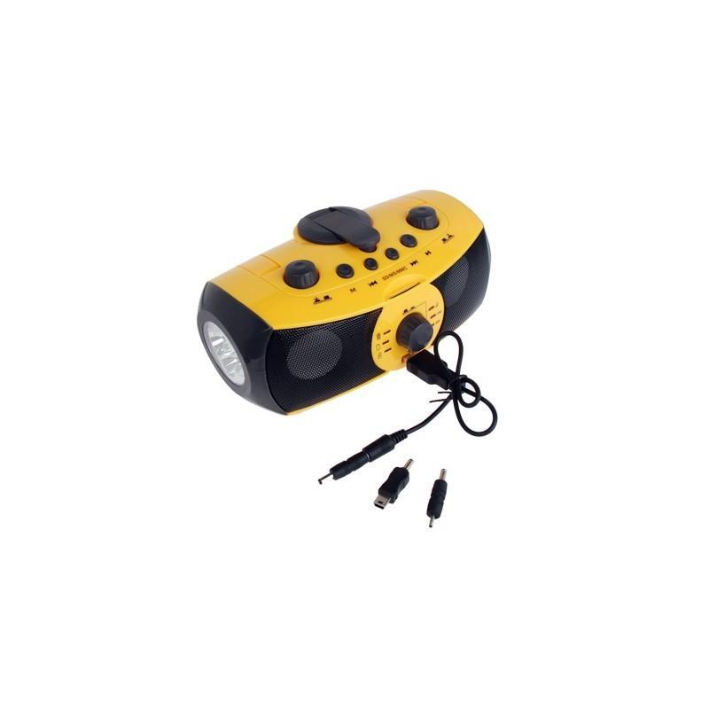 Портативный плеер S-34 с динамиком + радио + фонарь + power bank (USB-порт, поддержка SD-карт, динамо машина) 188393