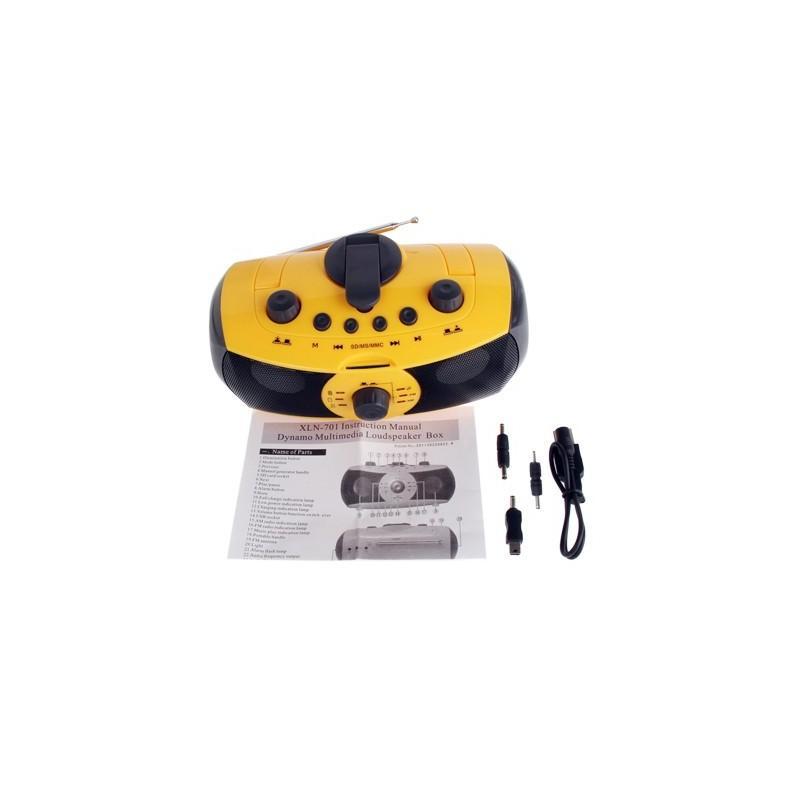 Портативный плеер S-34 с динамиком + радио + фонарь + power bank (USB-порт, поддержка SD-карт, динамо машина) 188394