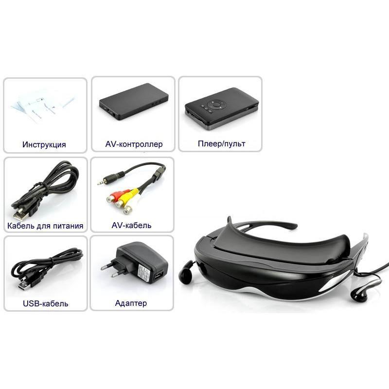 2D/3D видео-очки E376: виртуальный экран 80 дюймов, 4 ГБ встроенной памяти, AV-подключение, NTSC/PAL/SECAM 188647