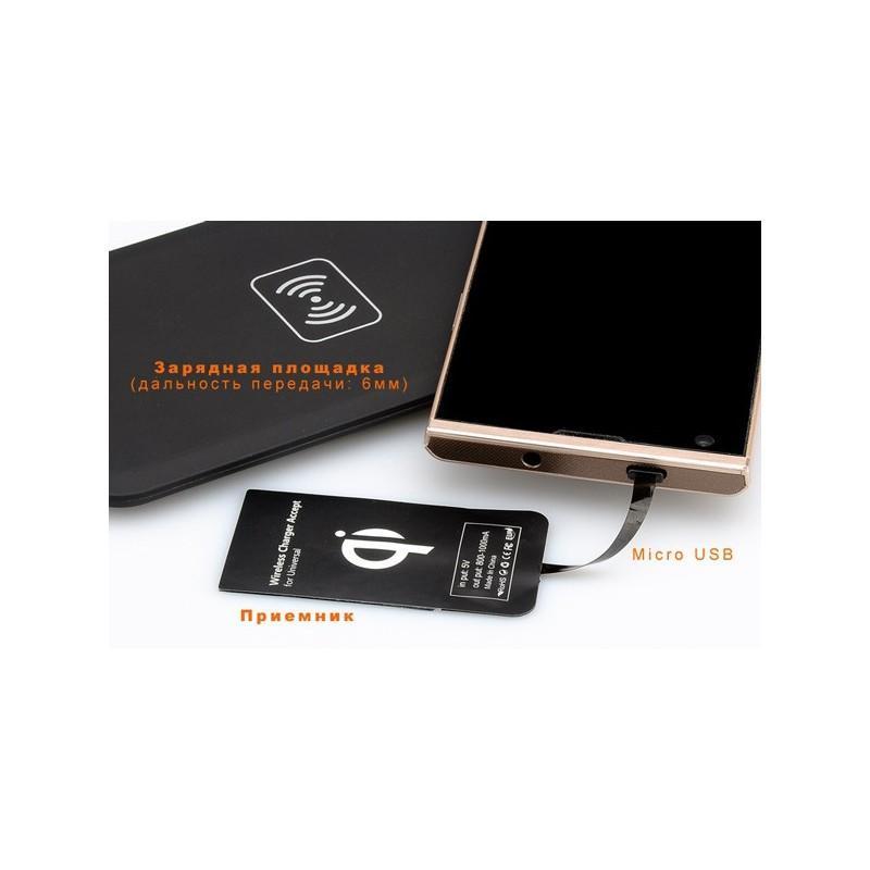 Зарядная площадка Qi + универсальный приемник для смартфонов с Micro USB A389 (беспроводная индукционная передача энергии) 188700