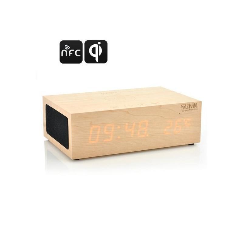 Деревянные LED-часы A336 с будильником и термометром + зарядная площадка Qi + Bluetooth-динамик