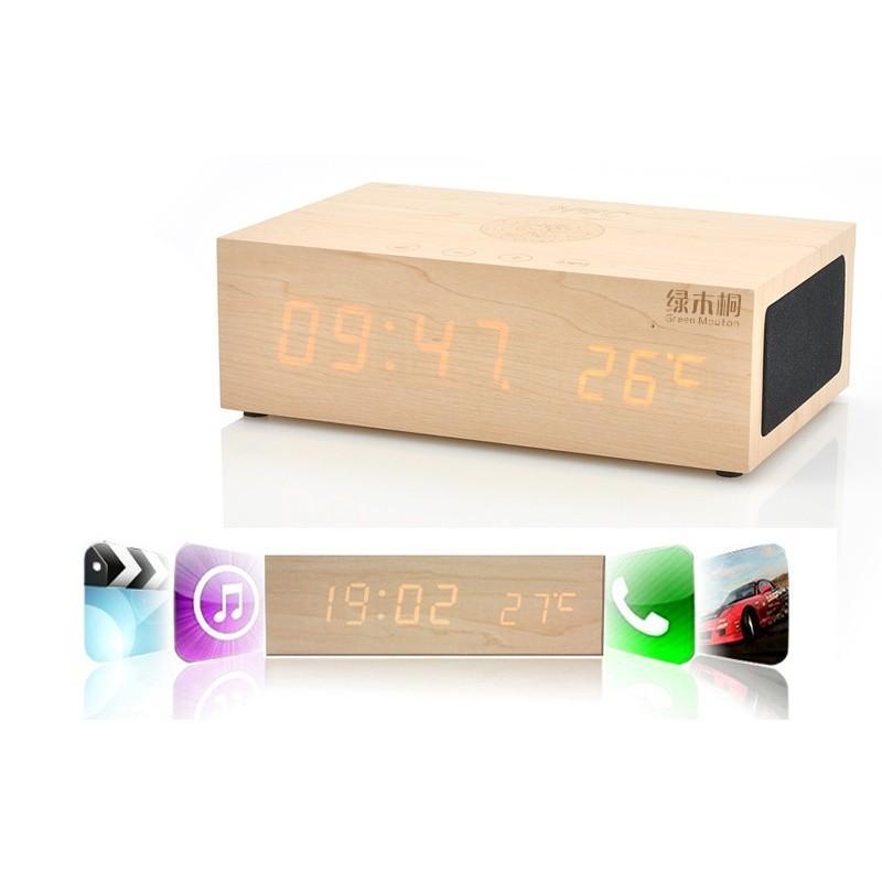 Деревянные LED-часы A336 с будильником и термометром + зарядная площадка Qi + Bluetooth-динамик 188720