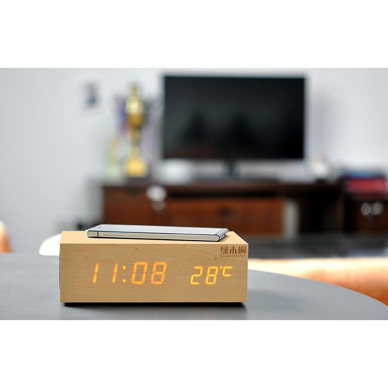Деревянные LED-часы A336 с будильником и термометром + зарядная площадка Qi + Bluetooth-динамик 188721