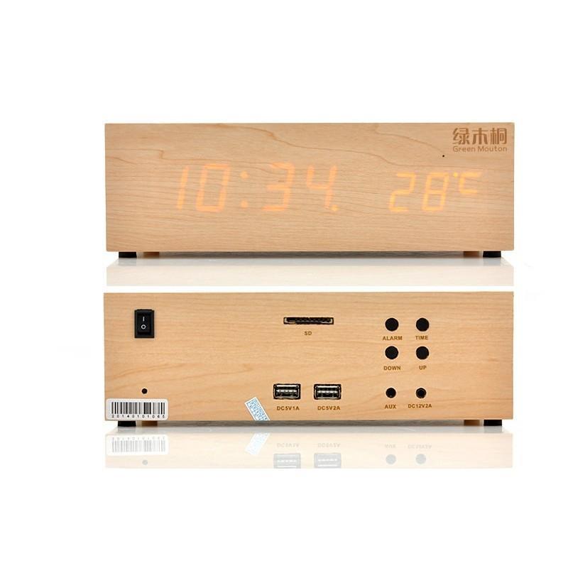 Деревянные LED-часы A336 с будильником и термометром + зарядная площадка Qi + Bluetooth-динамик 188722