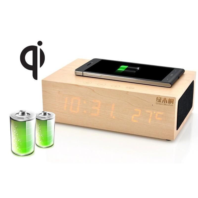 Деревянные LED-часы A336 с будильником и термометром + зарядная площадка Qi + Bluetooth-динамик 188723