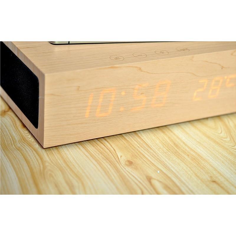 Деревянные LED-часы A336 с будильником и термометром + зарядная площадка Qi + Bluetooth-динамик 188725