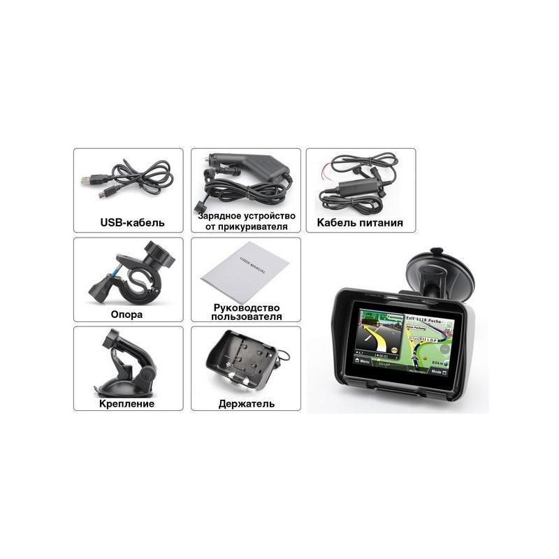"""Мотоциклетный GPS-навигатор """"Rage TR53"""" – экран 4,3 дюйма, водонепроницаемость IPX7, 8 Гб внутренней памяти, Bluetooth 188893"""
