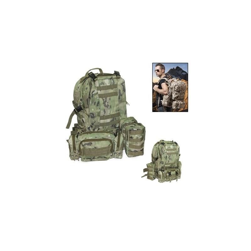 Военный трекинговый рюкзак MOLLE: нейлон 800D, водоотталкивающее покрытие, дополнительные сумки