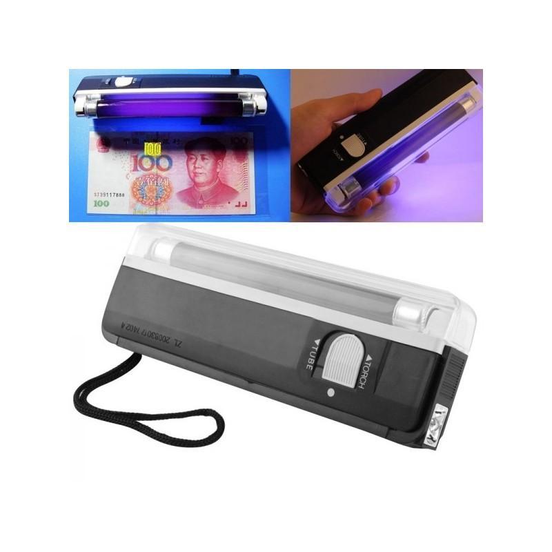 Портативная ультрафиолетовая лампа для проверки водяных знаков (деньги, документы, паспорта) + фонарик