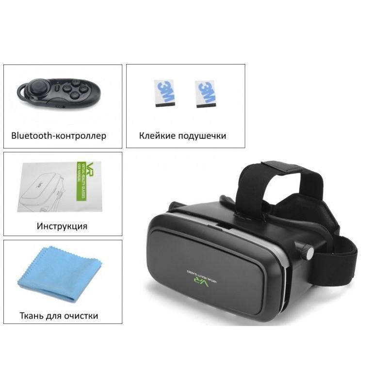 Очки виртуальной реальности 3D VR Overworld – для телефона 3,5-6 дюймов, дистанционное управление по Bluetooth, мягкая подкладка 189325