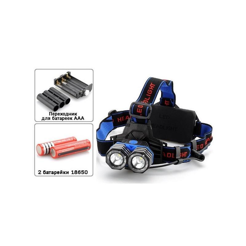 Налобный светодиодный фонарь LT242 – 2 светодиода CREE XM-L T6, 1600 лм, 4 режима, USB 189877