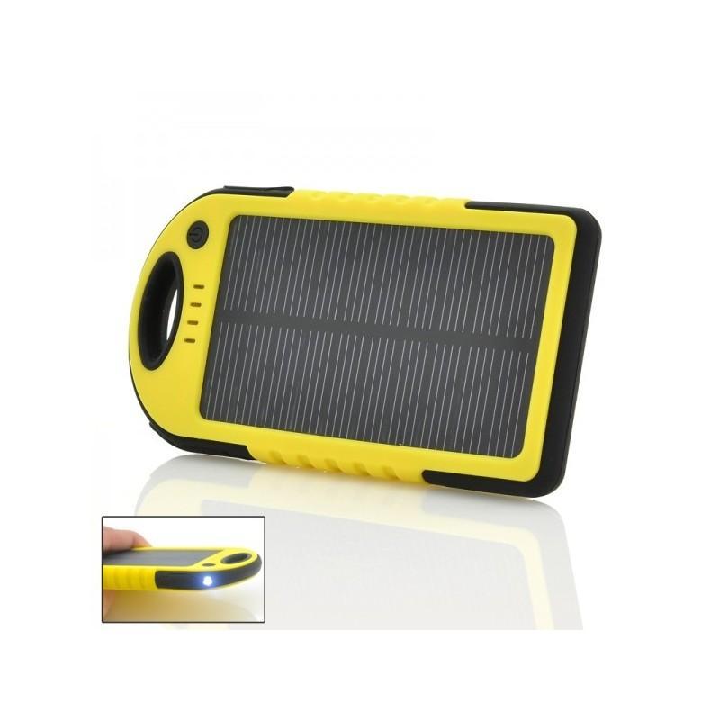 Противоударная водонепроницаемая портативная зарядка с солнечной панелью SolarJet S77 (аккумулятор на 5000 mAh,2 USB,LED-факел)