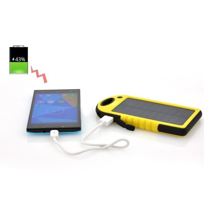 Противоударная водонепроницаемая портативная зарядка с солнечной панелью SolarJet S77 (аккумулятор на 5000 mAh,2 USB,LED-факел) 189968