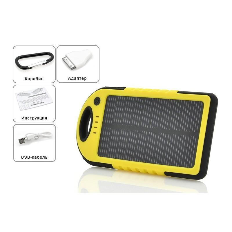 Противоударная водонепроницаемая портативная зарядка с солнечной панелью SolarJet S77 (аккумулятор на 5000 mAh,2 USB,LED-факел) 189969