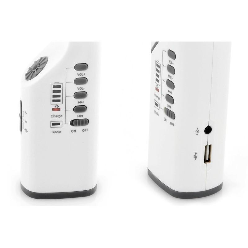Многофункциональная LED-лампа LT141 с ручной зарядкой – радио, солнечная панель, фонарик, Power Bank/внешний аккумулятор, USB 189993