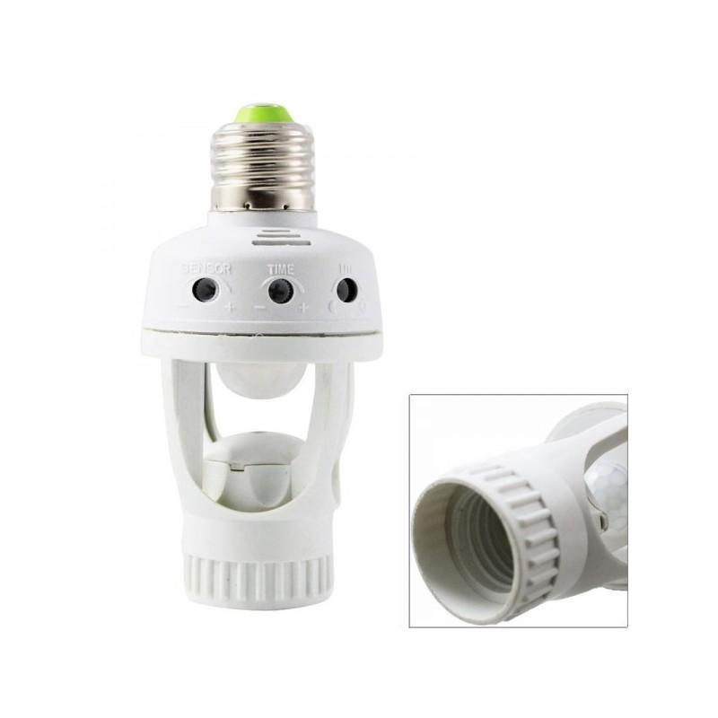 Пассивный ИК-датчик движения с электропатроном (лампа с датчиком движения) – обзор 360°, радиус 5 м, 220V, цоколь E27, 60W