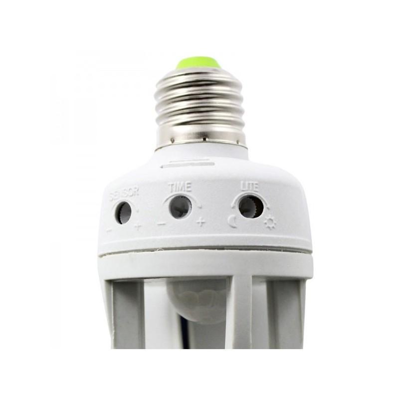 Пассивный ИК-датчик движения с электропатроном (лампа с датчиком движения) – обзор 360°, радиус 5 м, 220V, цоколь E27, 60W 190003
