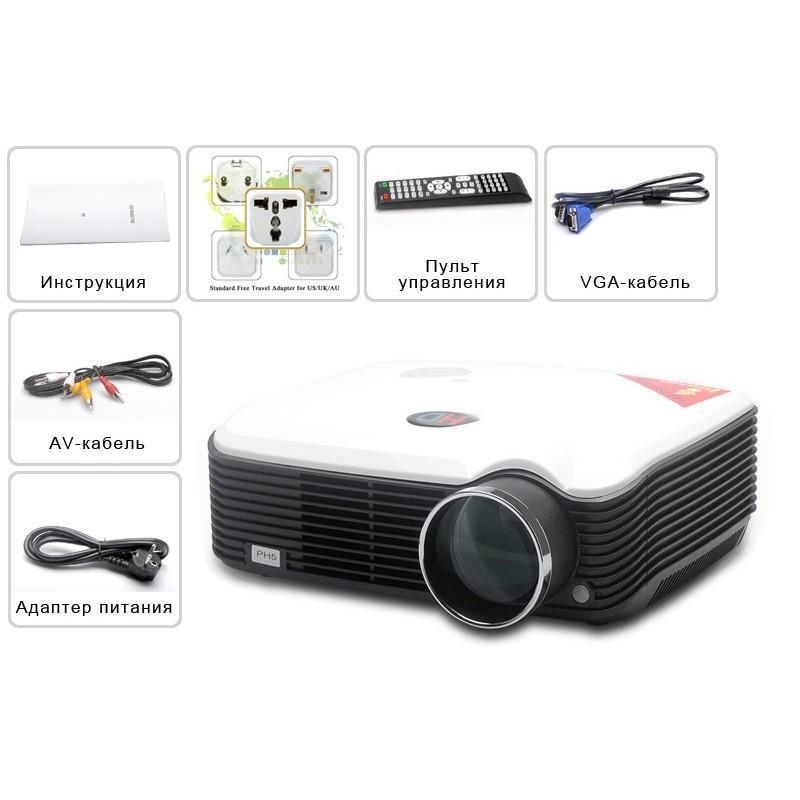 LED видеопроектор Modern teck: TV-тюннер, 2500 ANSI-люмен, 2000:1 контраст, HDMI, VGA, AV, S-Video, 2xUSB 190020