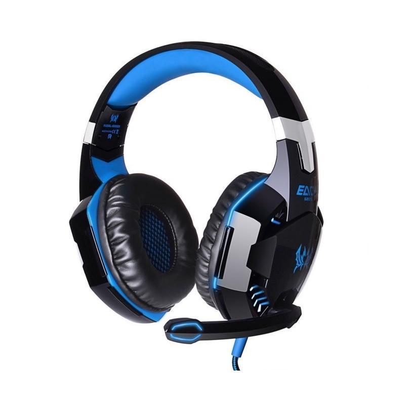 Игровые наушники Kotion Each G2000 Pro Gaming (Original) с микрофоном, шумоподавление, кабель 2.2 м, светодиодная подсветка - Синий