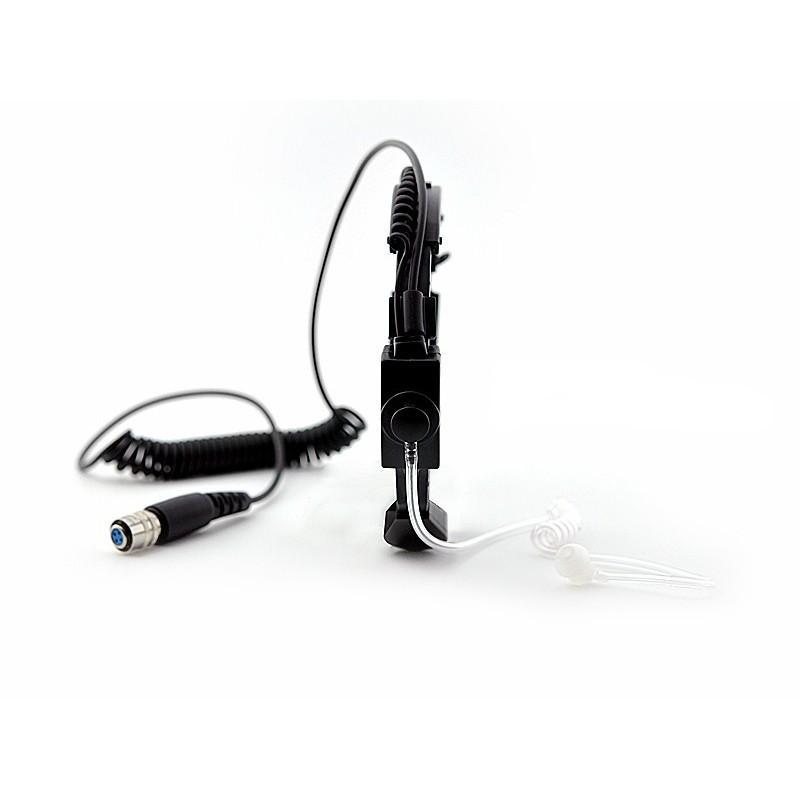 Ларингофон (горловой микрофон) для раций Walkie Talkie А60 (две кнопки PTT+прозрачные наушники)