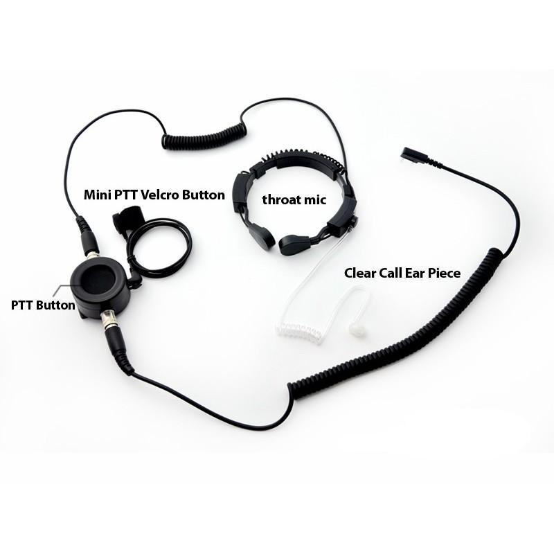 Ларингофон (горловой микрофон) для раций Walkie Talkie А60 (две кнопки PTT+прозрачные наушники) 190371